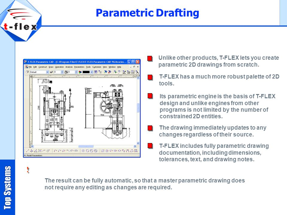 Unlike other products, T-FLEX lets you create parametric 2D drawings from scratch.