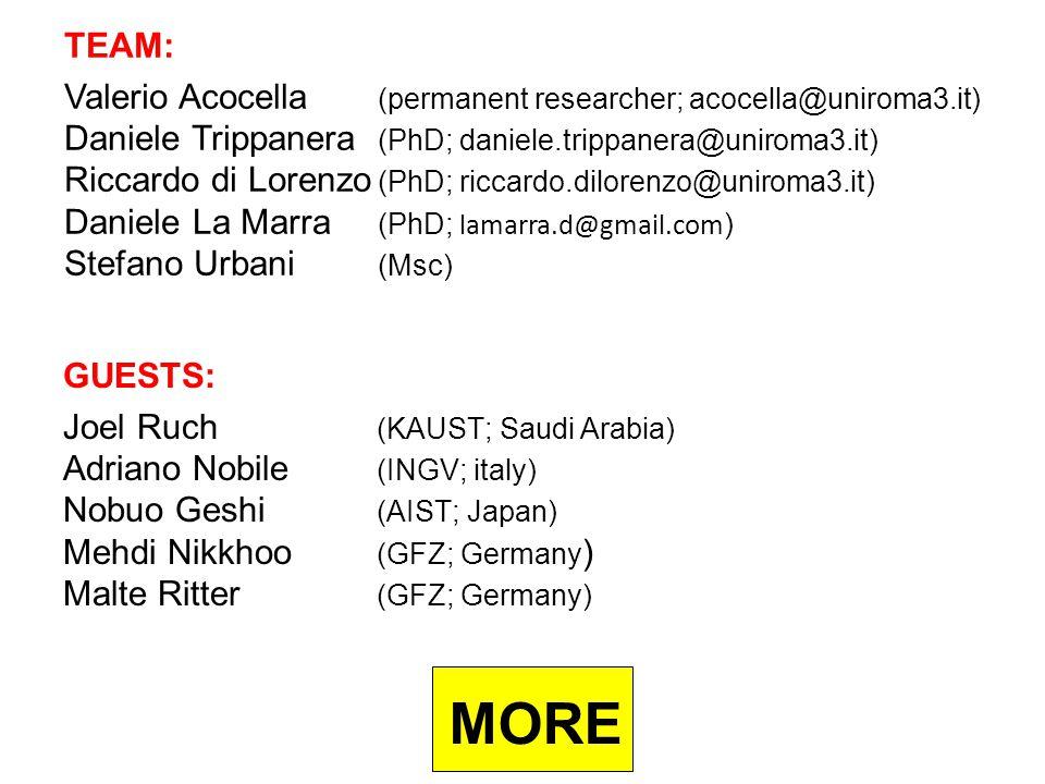 TEAM: Valerio Acocella (permanent researcher; acocella@uniroma3.it) Daniele Trippanera (PhD; daniele.trippanera@uniroma3.it) Riccardo di Lorenzo (PhD; riccardo.dilorenzo@uniroma3.it) Daniele La Marra (PhD; lamarra.d@gmail.com ) Stefano Urbani (Msc) GUESTS: Joel Ruch (KAUST; Saudi Arabia) Adriano Nobile (INGV; italy) Nobuo Geshi (AIST; Japan) Mehdi Nikkhoo (GFZ; Germany ) Malte Ritter (GFZ; Germany) MORE
