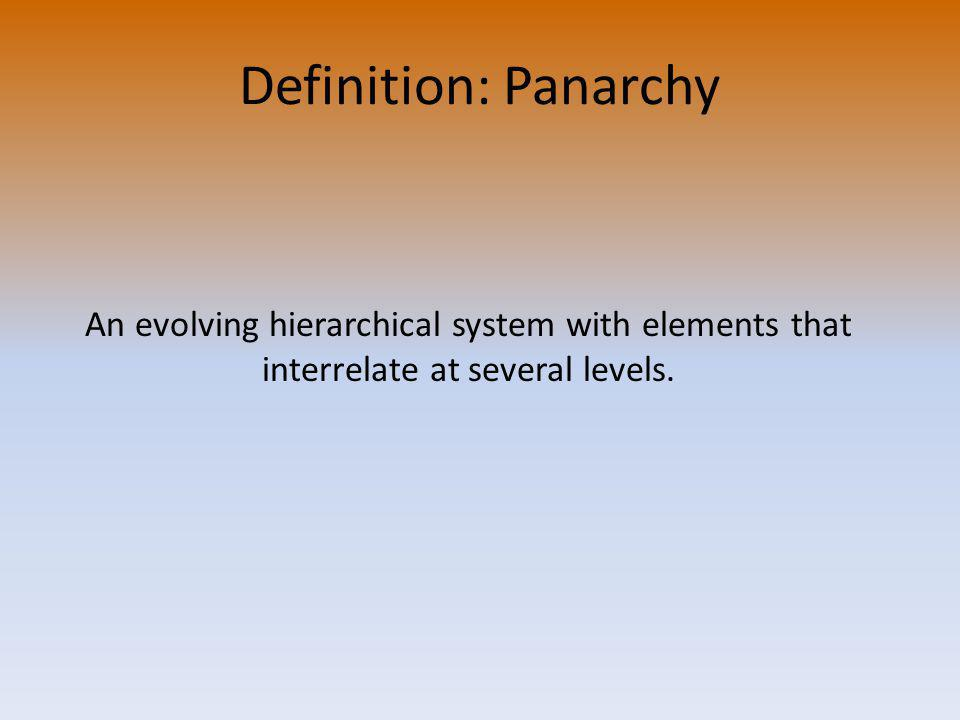 Definition: Panarchy An evolving hierarchical system with elements that interrelate at several levels.