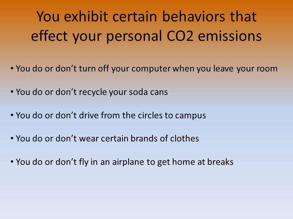 You exhibit certain behaviors that effect your personal CO2 emissions You do or dont turn off your computer when you leave your room You do or dont recycle your soda cans You do or dont drive from the circles to campus You do or dont wear certain brands of clothes You do or dont fly in an airplane to get home at breaks