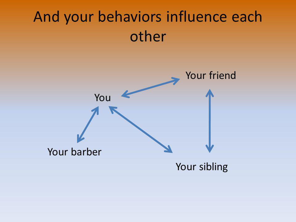 And your behaviors influence each other You Your barber Your sibling Your friend