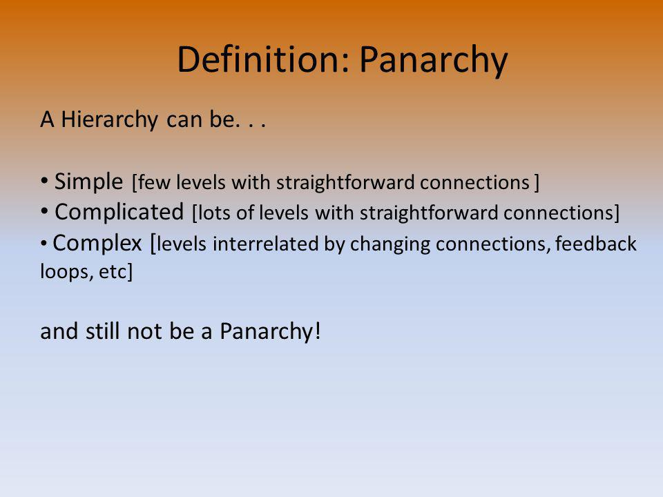 Definition: Panarchy A Hierarchy can be...