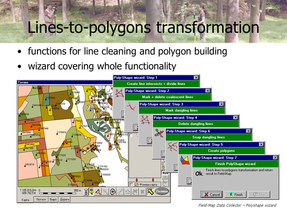 Lines-to-polygons transformation functions for line cleaning and polygon building wizard covering whole functionality Field-Map Data Collector – Polyshape wizard