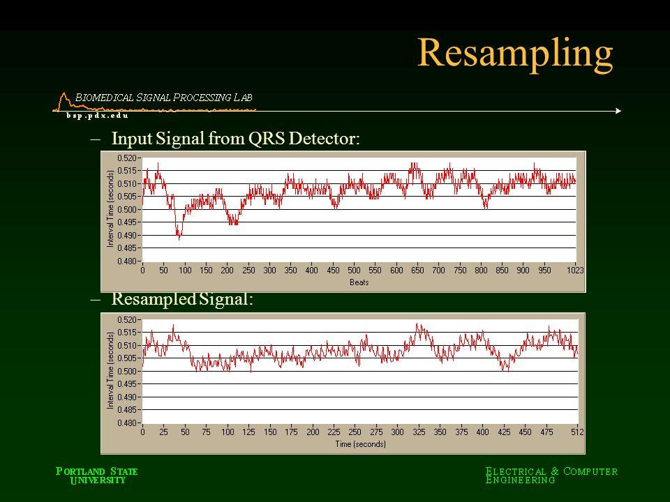 Resampling –Input Signal from QRS Detector: –Resampled Signal: