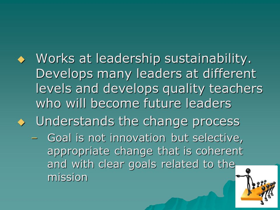Works at leadership sustainability.