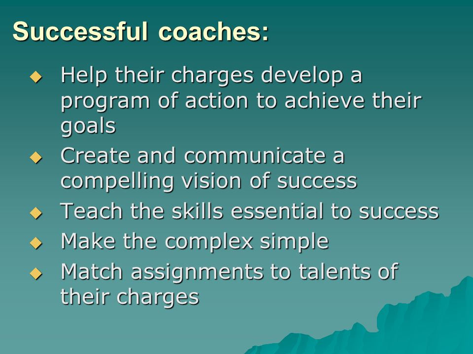Successful coaches: Help their charges develop a program of action to achieve their goals Help their charges develop a program of action to achieve their goals Create and communicate a compelling vision of success Create and communicate a compelling vision of success Teach the skills essential to success Teach the skills essential to success Make the complex simple Make the complex simple Match assignments to talents of their charges Match assignments to talents of their charges