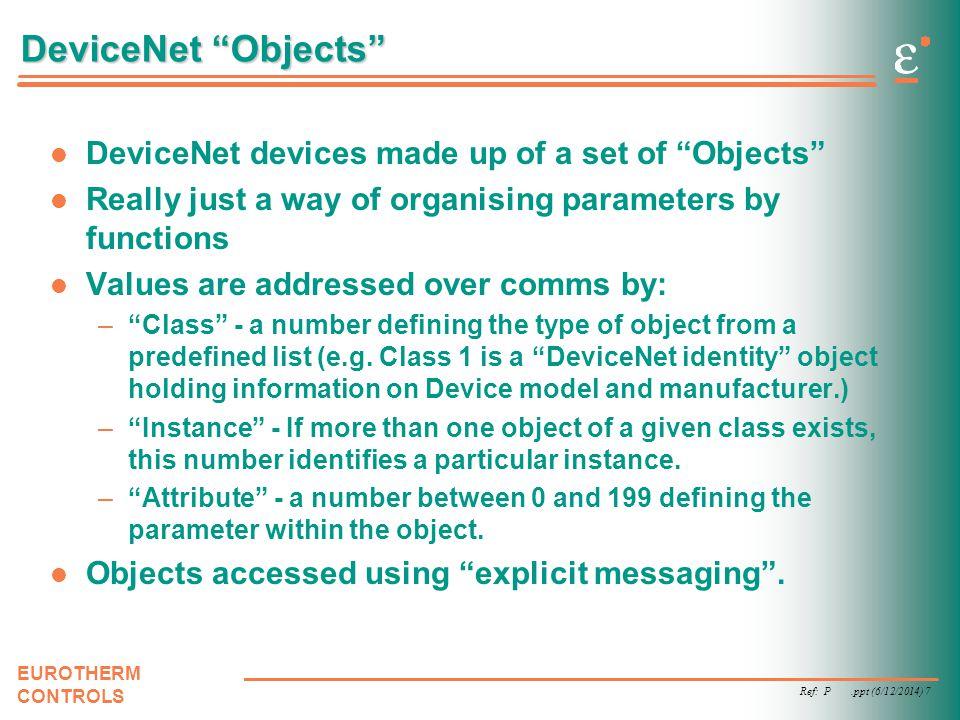Ref: P.ppt (6/12/2014) 8 EUROTHERM CONTROLS Explicit Messaging Like Modbus, i.e.