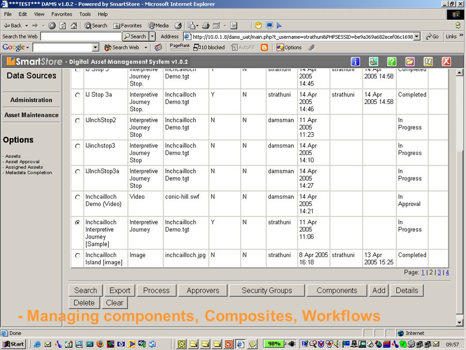 - Managing components, Composites, Workflows