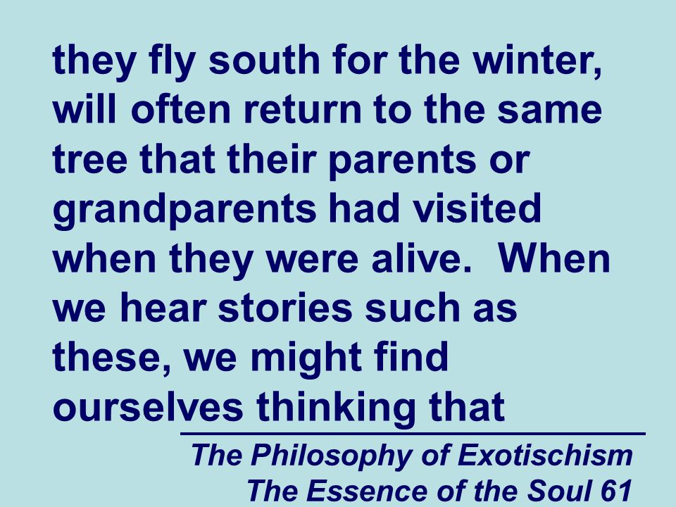 The Philosophy of Exotischism The Essence of the Soul 61 they fly south for the winter, will often return to the same tree that their parents or grandparents had visited when they were alive.