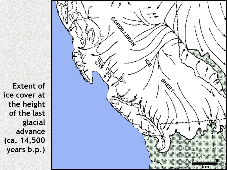 Extent of ice cover at the height of the last glacial advance (ca. 14,500 years b.p.)
