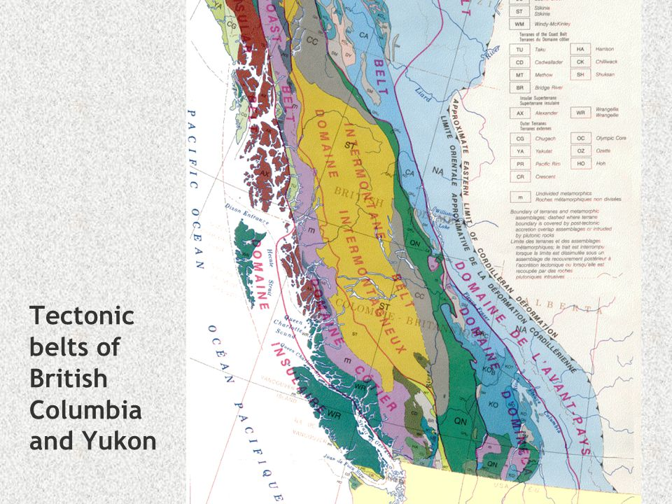 Tectonic belts of British Columbia and Yukon