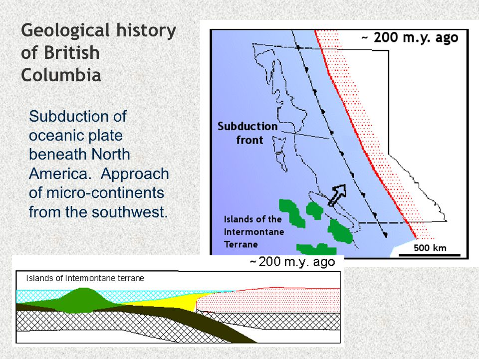 Geological history of British Columbia Accretion of the Intermontane Super- Terrane and consequent thrusting and folding of existing sedimentary rocks into the Rocky Mountains.