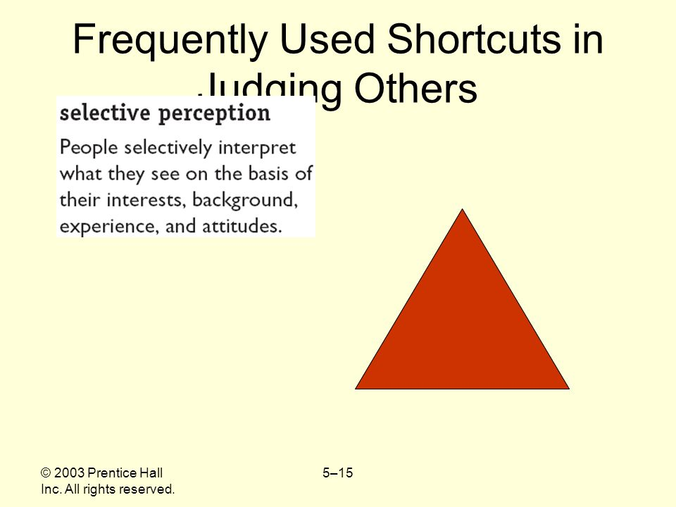 © 2003 Prentice Hall Inc. All rights reserved. 5–15 Frequently Used Shortcuts in Judging Others