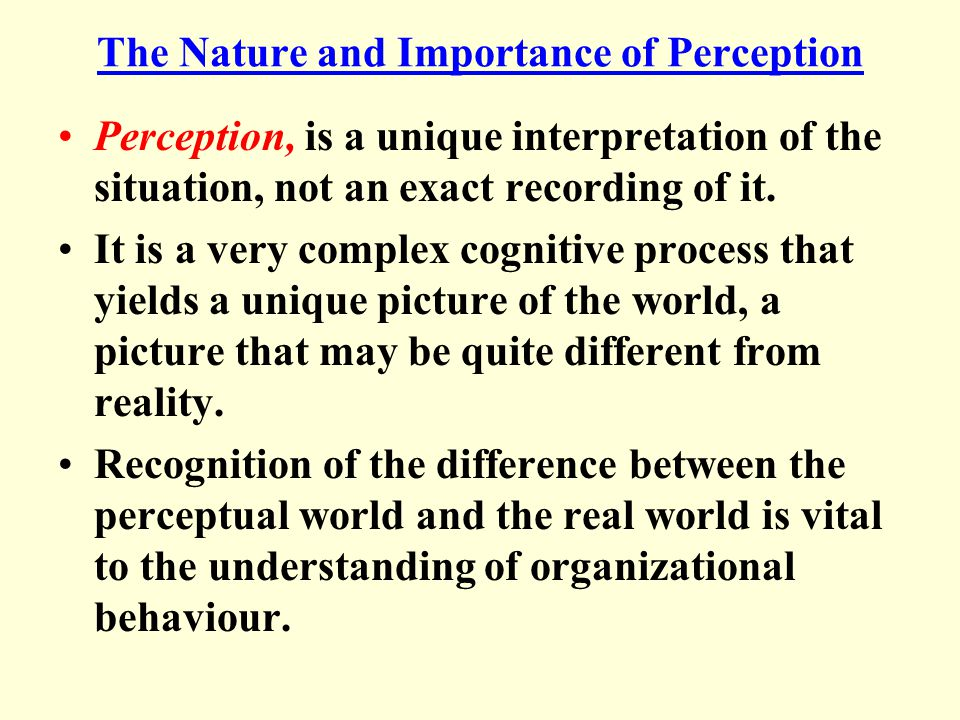 The Nature and Importance of Perception Perception, is a unique interpretation of the situation, not an exact recording of it.