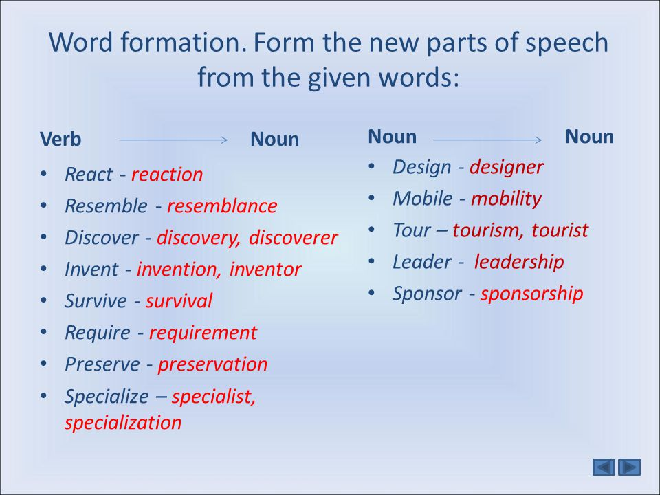 Word formation. Form the new parts of speech from the given words: Verb Noun React - reaction Resemble - resemblance Discover - discovery, discoverer