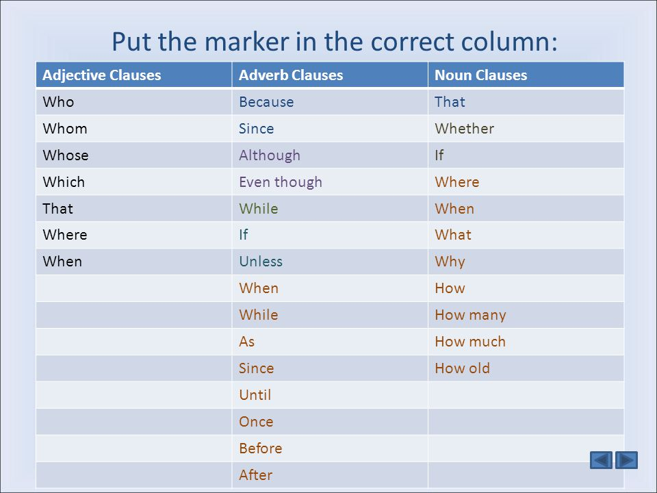 Put the marker in the correct column: Adjective ClausesAdverb ClausesNoun Clauses WhoBecauseThat WhomSinceWhether WhoseAlthoughIf WhichEven thoughWher