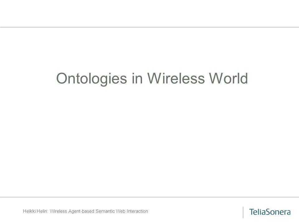 Heikki Helin: Wireless Agent-based Semantic Web Interaction Ontologies in Wireless World
