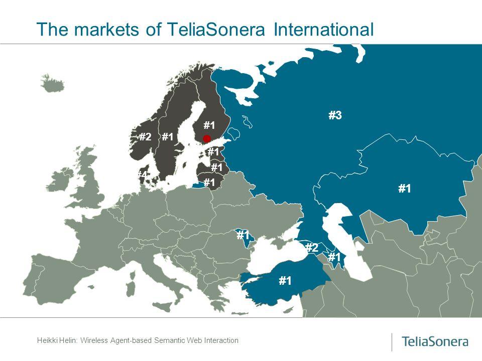 Heikki Helin: Wireless Agent-based Semantic Web Interaction The markets of TeliaSonera International #3 #1 #2 #1 #4 #2