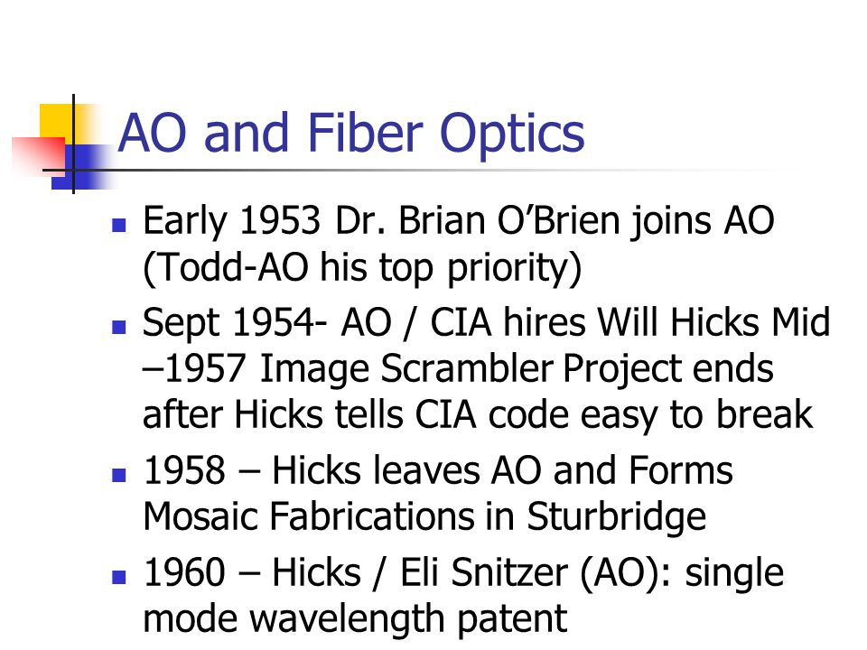 AO and Fiber Optics Early 1953 Dr. Brian OBrien joins AO (Todd-AO his top priority) Sept 1954- AO / CIA hires Will Hicks Mid –1957 Image Scrambler Pro