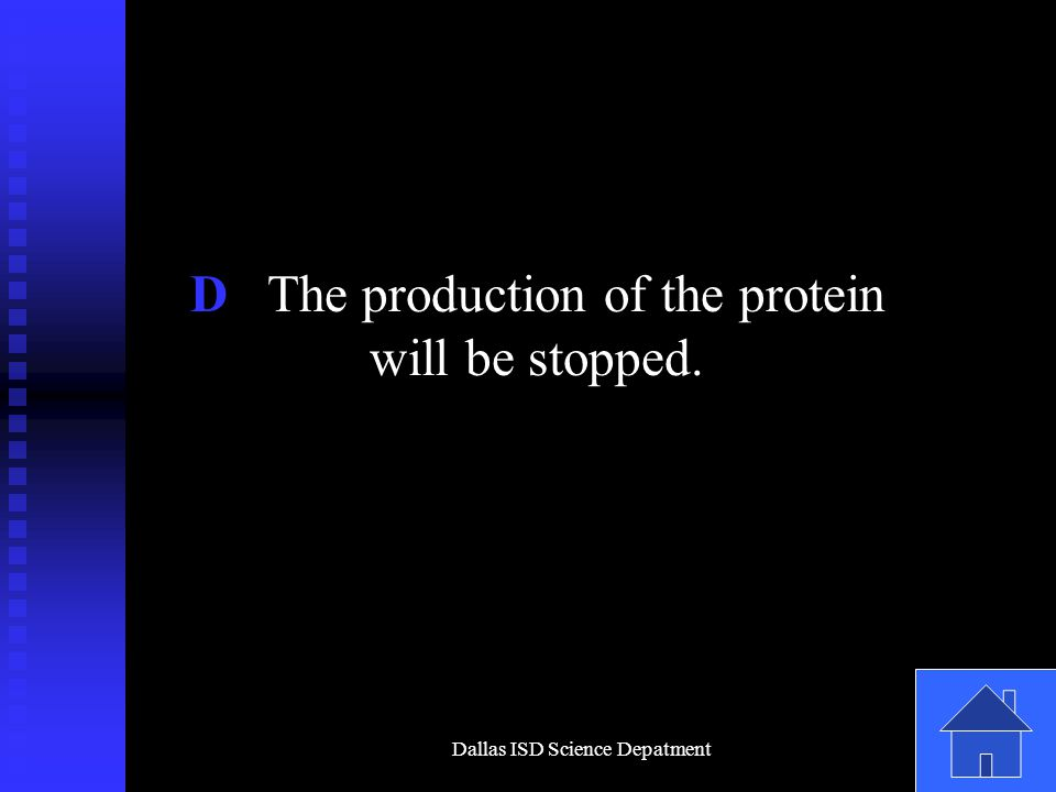 Dallas ISD Science Depatment D The production of the protein will be stopped.