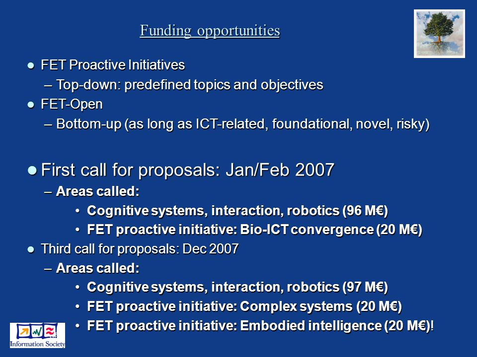 25 Funding opportunities FET Proactive Initiatives FET Proactive Initiatives –Top-down: predefined topics and objectives FET-Open FET-Open –Bottom-up (as long as ICT-related, foundational, novel, risky) First call for proposals: Jan/Feb 2007 First call for proposals: Jan/Feb 2007 –Areas called: Cognitive systems, interaction, robotics (96 M)Cognitive systems, interaction, robotics (96 M) FET proactive initiative: Bio-ICT convergence (20 M)FET proactive initiative: Bio-ICT convergence (20 M) Third call for proposals: Dec 2007 Third call for proposals: Dec 2007 –Areas called: Cognitive systems, interaction, robotics (97 M)Cognitive systems, interaction, robotics (97 M) FET proactive initiative: Complex systems (20 M)FET proactive initiative: Complex systems (20 M) FET proactive initiative: Embodied intelligence (20 M)!FET proactive initiative: Embodied intelligence (20 M)!