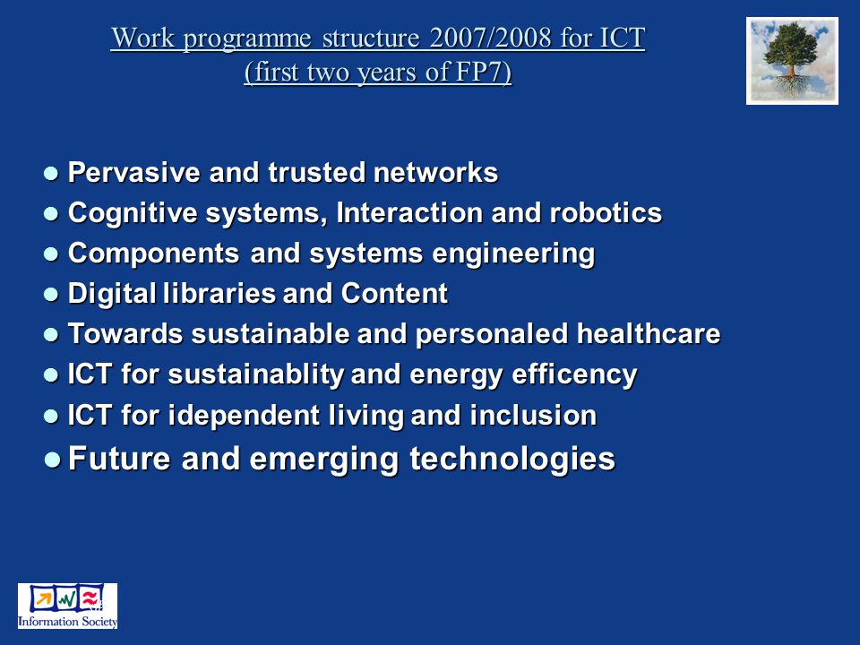 6 Work programme structure 2007/2008 for ICT (first two years of FP7) Pervasive and trusted networks Pervasive and trusted networks Cognitive systems, Interaction and robotics Cognitive systems, Interaction and robotics Components and systems engineering Components and systems engineering Digital libraries and Content Digital libraries and Content Towards sustainable and personaled healthcare Towards sustainable and personaled healthcare ICT for sustainablity and energy efficency ICT for sustainablity and energy efficency ICT for idependent living and inclusion ICT for idependent living and inclusion Future and emerging technologies Future and emerging technologies