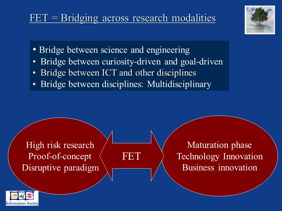 9 FET = Bridging across research modalities Bridge between science and engineering Bridge between curiosity-driven and goal-driven Bridge between ICT and other disciplines Bridge between ICT and other disciplines Bridge between disciplines: Multidisciplinary High risk research Proof-of-concept Disruptive paradigm Maturation phase Technology Innovation Business innovation FET