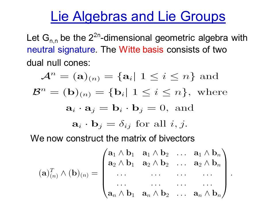 Lie Algebras and Lie Groups Let G n,n be the 2 2n -dimensional geometric algebra with neutral signature.