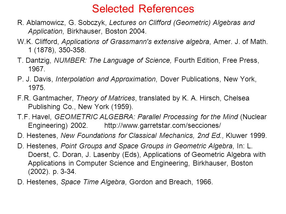 Selected References R.Ablamowicz, G.