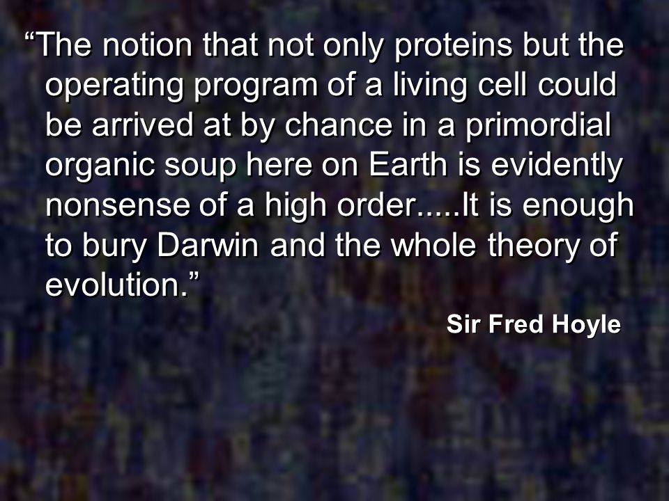 The notion that not only proteins but the operating program of a living cell could be arrived at by chance in a primordial organic soup here on Earth
