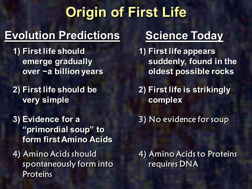 Origin of First Life Evolution Predictions 1) First life should emerge gradually over ~a billion years 2) First life should be very simple 3) Evidence
