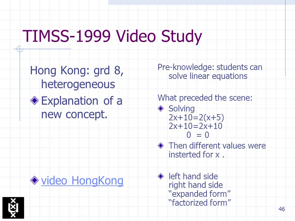 46 TIMSS-1999 Video Study Hong Kong: grd 8, heterogeneous Explanation of a new concept.