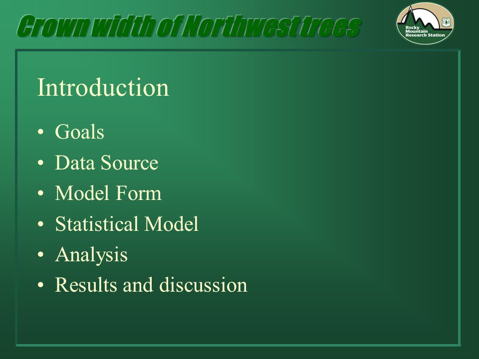 Introduction Goals Data Source Model Form Statistical Model Analysis Results and discussion