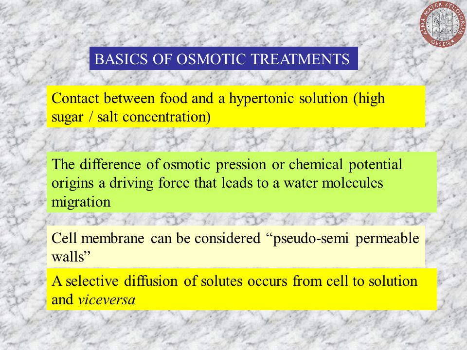 BASICS OF OSMOTIC TREATMENTS Contact between food and a hypertonic solution (high sugar / salt concentration) The difference of osmotic pression or ch