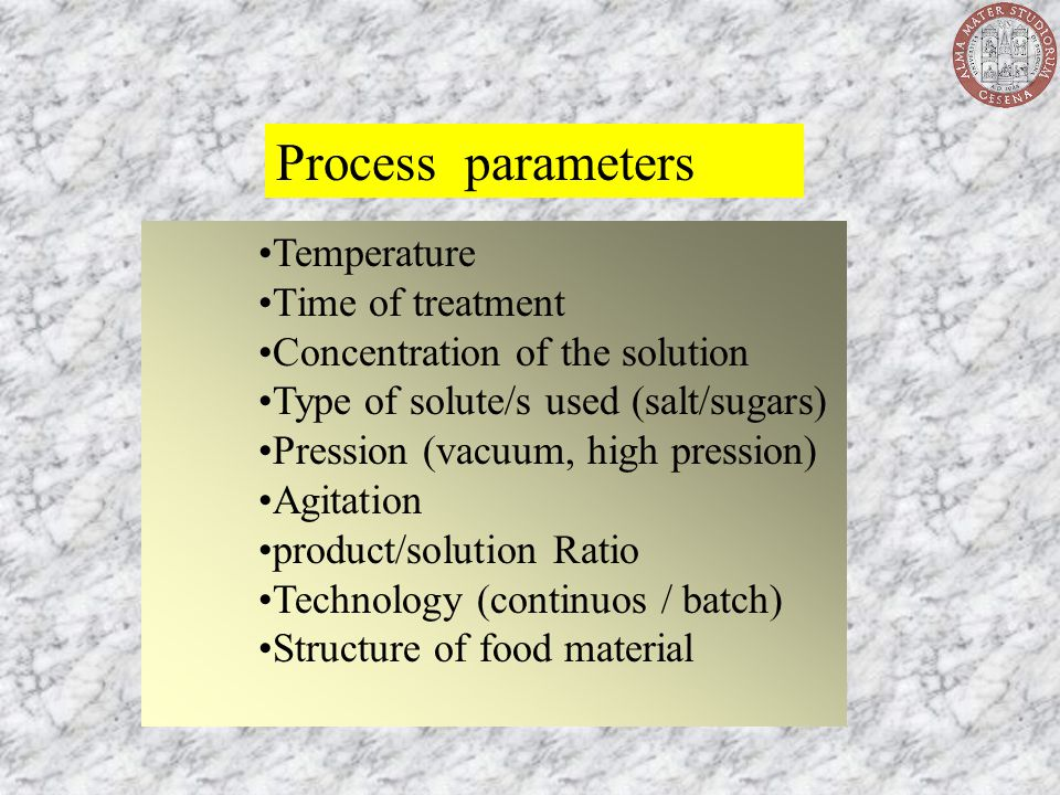 Process parameters Temperature Time of treatment Concentration of the solution Type of solute/s used (salt/sugars) Pression (vacuum, high pression) Ag