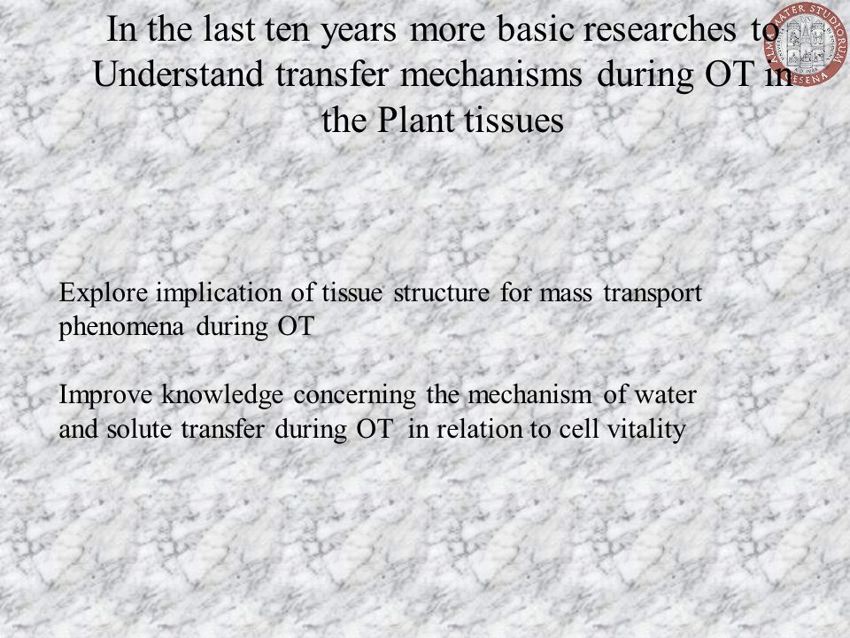 Explore implication of tissue structure for mass transport phenomena during OT Improve knowledge concerning the mechanism of water and solute transfer