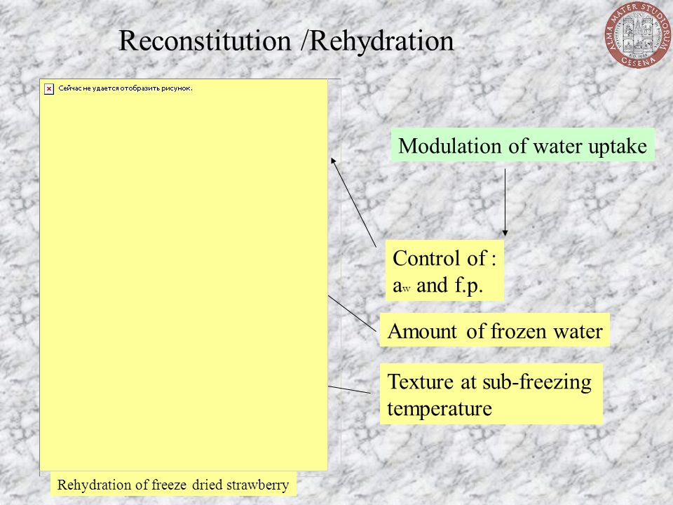 Reconstitution /Rehydration Modulation of water uptake Control of : a w and f.p. Amount of frozen water Texture at sub-freezing temperature Rehydratio