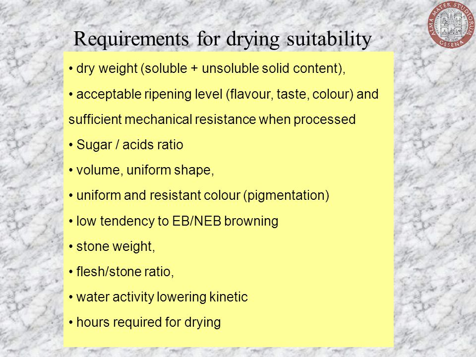 Requirements for drying suitability dry weight (soluble + unsoluble solid content), acceptable ripening level (flavour, taste, colour) and sufficient
