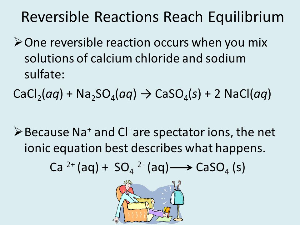 Reversible Reactions Reach Equilibrium One reversible reaction occurs when you mix solutions of calcium chloride and sodium sulfate: CaCl 2 (aq) + Na