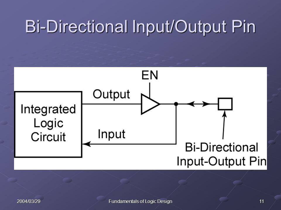 112004/03/29Fundamentals of Logic Design Bi-Directional Input/Output Pin