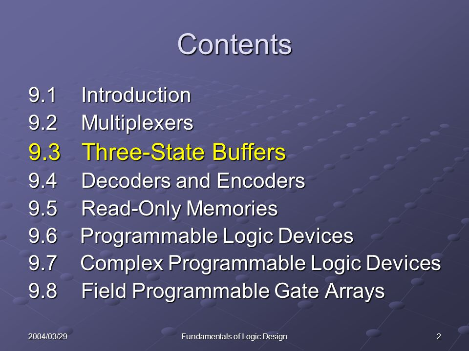 22004/03/29Fundamentals of Logic Design Contents 9.1 Introduction 9.2 Multiplexers 9.3 Three-State Buffers 9.4 Decoders and Encoders 9.5 Read-Only Mem