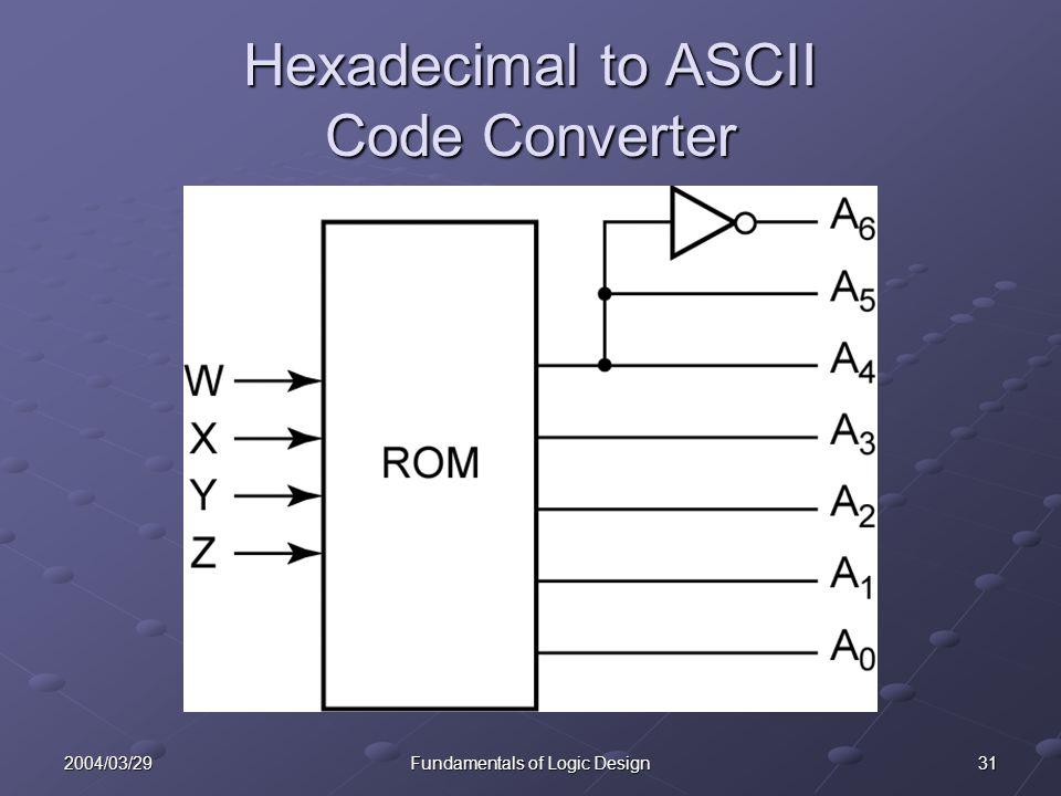 312004/03/29Fundamentals of Logic Design Hexadecimal to ASCII Code Converter