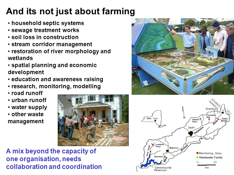 And its not just about farming A mix beyond the capacity of one organisation, needs collaboration and coordination household septic systems sewage treatment works soil loss in construction stream corridor management restoration of river morphology and wetlands spatial planning and economic development education and awareness raising research, monitoring, modelling road runoff urban runoff water supply other waste management