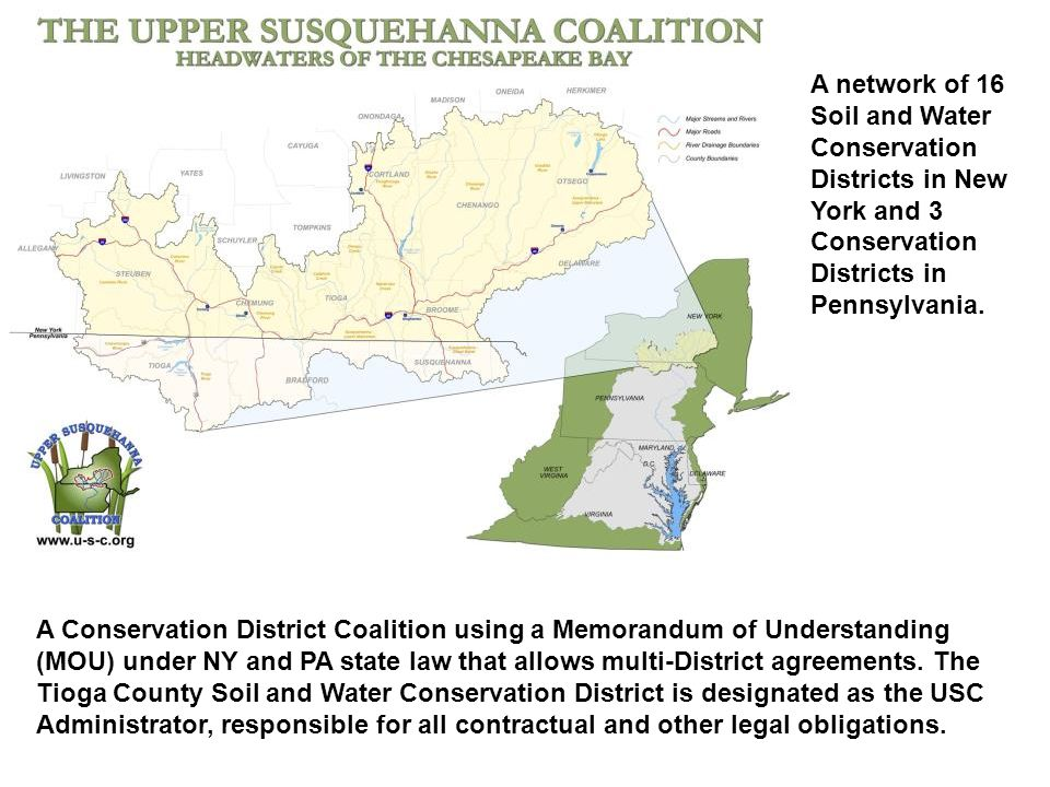 A Conservation District Coalition using a Memorandum of Understanding (MOU) under NY and PA state law that allows multi-District agreements.