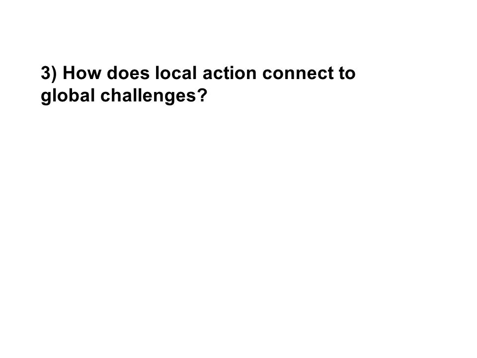 3) How does local action connect to global challenges