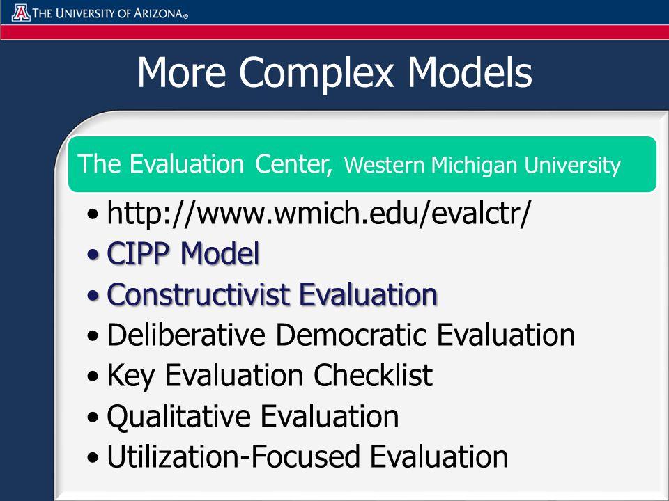 More Complex Models The Evaluation Center, Western Michigan University http://www.wmich.edu/evalctr/ CIPP ModelCIPP Model Constructivist EvaluationConstructivist Evaluation Deliberative Democratic Evaluation Key Evaluation Checklist Qualitative Evaluation Utilization-Focused Evaluation