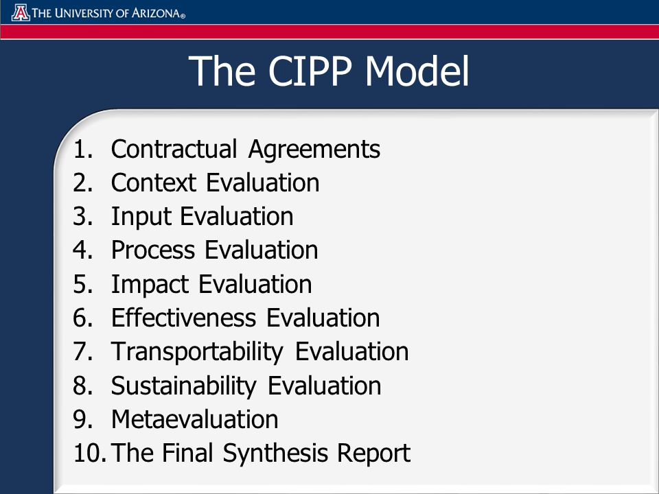 The CIPP Model 1.Contractual Agreements 2.Context Evaluation 3.Input Evaluation 4.Process Evaluation 5.Impact Evaluation 6.Effectiveness Evaluation 7.Transportability Evaluation 8.Sustainability Evaluation 9.Metaevaluation 10.The Final Synthesis Report