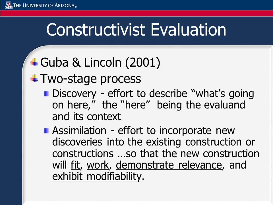 Constructivist Evaluation Guba & Lincoln (2001) Two-stage process Discovery - effort to describe whats going on here, the here being the evaluand and its context Assimilation - effort to incorporate new discoveries into the existing construction or constructions …so that the new construction will fit, work, demonstrate relevance, and exhibit modifiability.