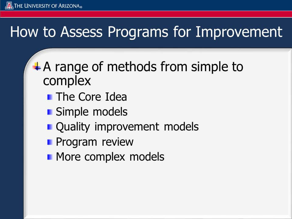 How to Assess Programs for Improvement A range of methods from simple to complex The Core Idea Simple models Quality improvement models Program review More complex models