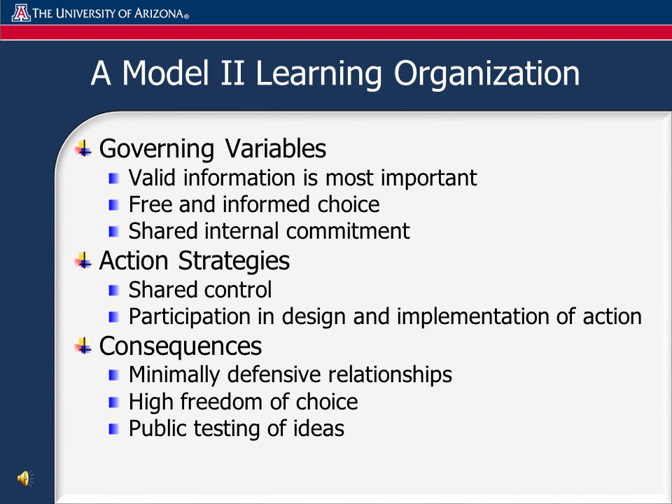 A Model II Learning Organization Governing Variables Valid information is most important Free and informed choice Shared internal commitment Action Strategies Shared control Participation in design and implementation of action Consequences Minimally defensive relationships High freedom of choice Public testing of ideas